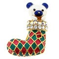 Goldtone White Crystal Christmas Stocking Bear Brooch