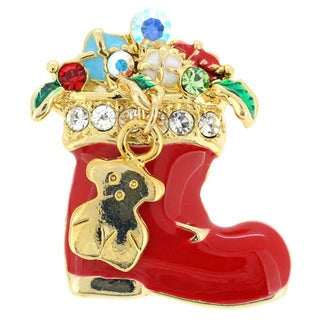 Goldtone Multi-colored Crystal Christmas Tagged Boots Brooch