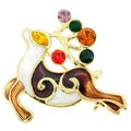 Goldtone Multi-colored Crystal Christmas Reindeer Spirit Brooch