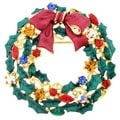 Goldtone Multi-colored Crystal Christmas Bow Brooch