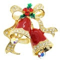 Goldtone Multi-Colored Crystal Accent Christmas Bell Brooch