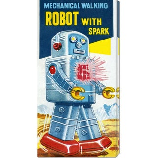 Retrobot 'Mechanical Walking Robot with Spark' Stretched Canvas Art