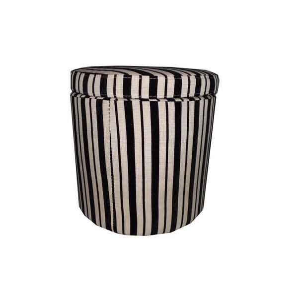 Black/ Beige Striped Storage Ottoman