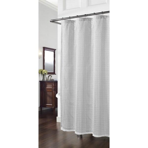 Cane Grey Geometric Shower Curtain