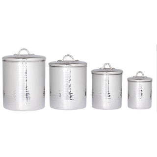 Old Dutch Stainless Steel Hammered Canisters (Set 4)