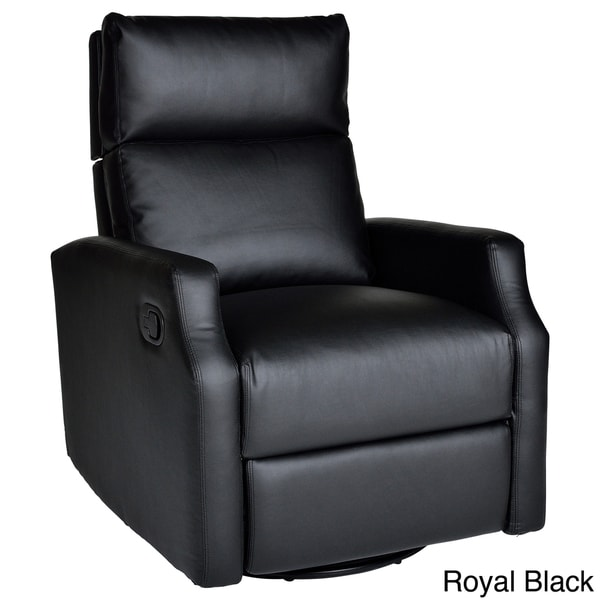 Sidney bonded leather swivel glider recliner 14983878 for Addin chaise recliner
