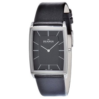 Skagen Men's 857LSLB Rectangular Black Leather Watch