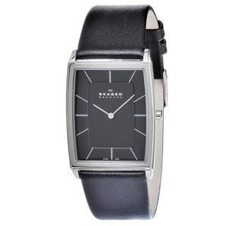Skagen Men's 857LSLB Rectangular Black Leather Watch
