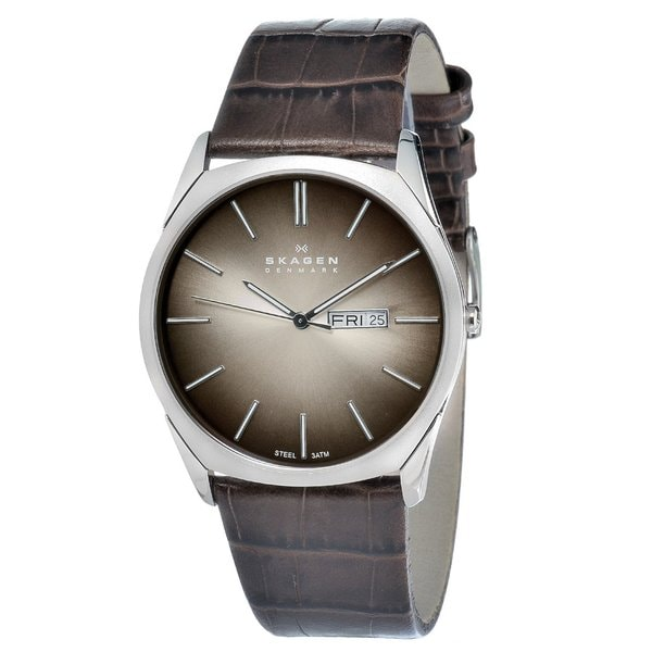Skagen Men's Stainless Steel Brown Leather Strap Date Watch