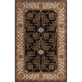 Hand-tufted Brown/Beige Traditional Bordered Montpelier New Zealand Wool Rug