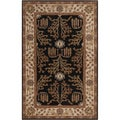 Hand-tufted Black/Beige Traditional Bordered Montpelier New Zealand Wool Rug