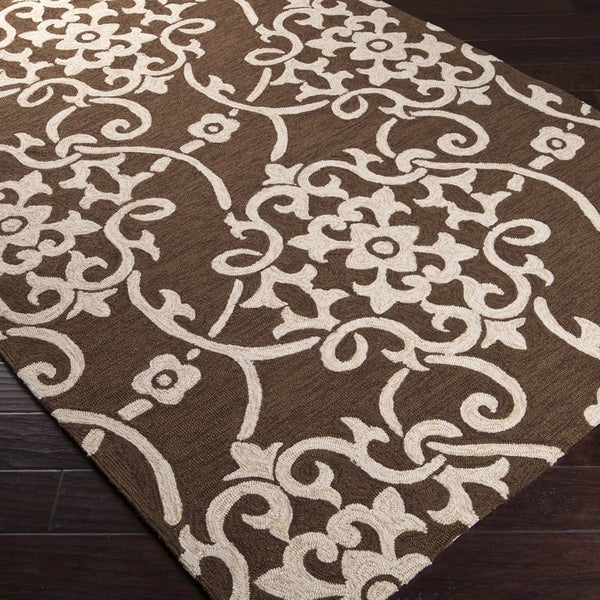 Hand-hooked Cottage Green Indoor/Outdoor Floral Rug