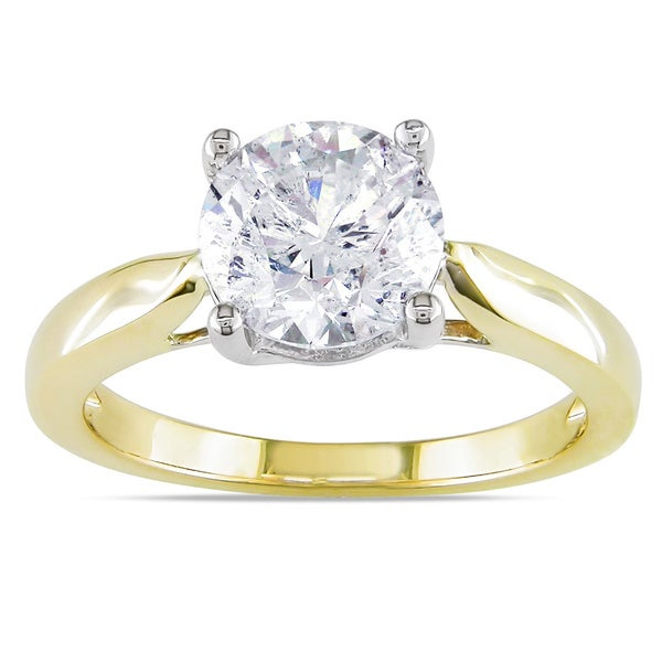 Miadora 14k Gold 2ct TDW Certified Round Solitaire Diamond Ring (G-H, I1-I2)