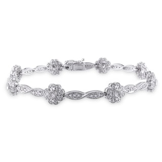 Miadora 14k White Gold 1/3ct TDW Diamond Flower Bracelet (H-I, I1-I2)