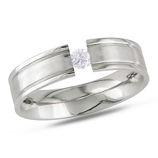 Miadora Stainless Steel Cubic Zirconia Ring