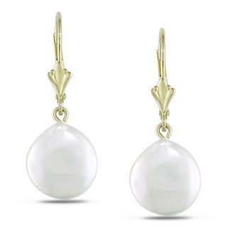Miadora 14k Yellow Gold Coin Pearl Dangle Earrings (10-11 mm)