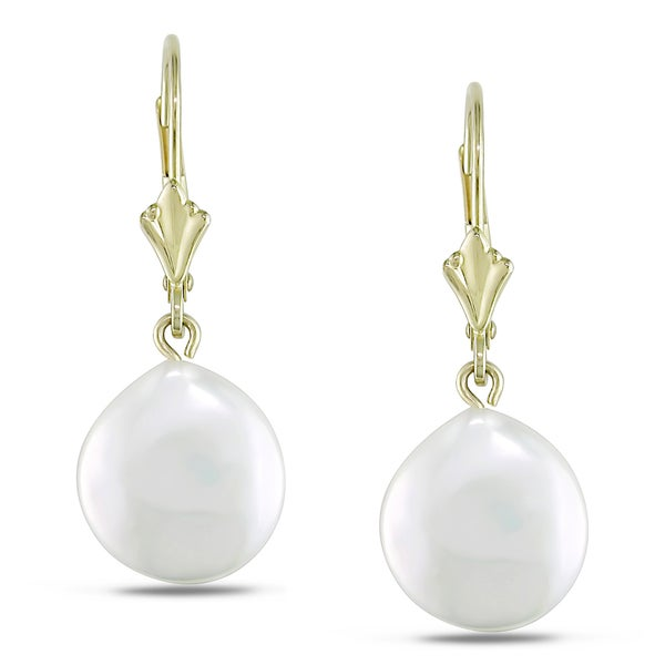 Miadora 14k Yellow Gold Coin Pearl Dangle Earrings 1011 Mm image