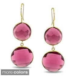 Miadora 22k Yellow Goldplated Gemstone Dangle Earrings
