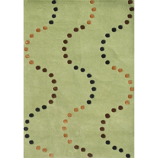 Alliyah Hand Made Green Glow New Zealand Blend Wool Rug (8 x 10)