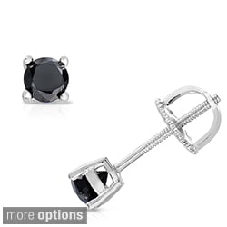 Finesque Sterling Silver Single Black Diamond Stud Earring