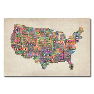 Michael Tompsett 'US Cities Text Map VI' Canvas Art