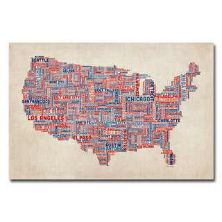 Michael Tompsett 'US Cities Text Map V' Canvas Art