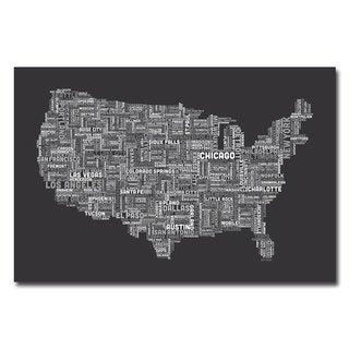 Michael Tompsett 'US Cities Text Map III' Canvas Art