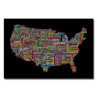 Michael Tompsett 'US Cities Text Map II' Canvas Art