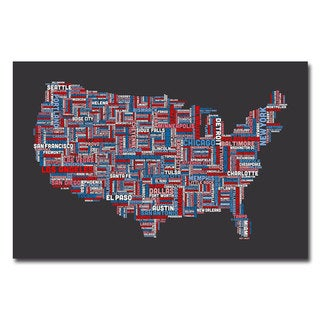 Michael Tompsett 'US Cities Text Map' Canvas Art