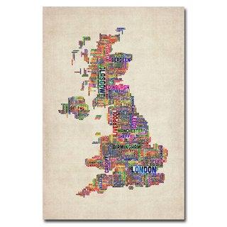 Michael Tompsett 'UK Cities Text Map' Canvas Art
