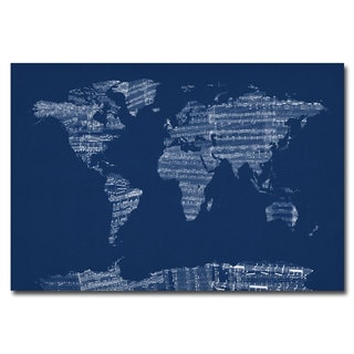 Michael Tompsett 'Sheet Music World Map in Blue' Canvas Art