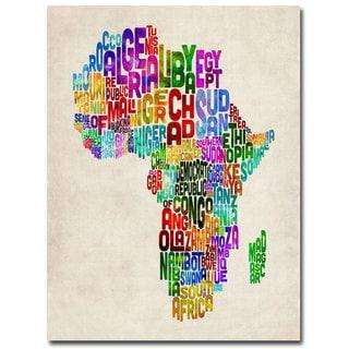 Michael Tompsett 'Africa Text Map' Canvas Art
