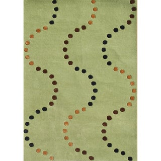 Alliyah Hand Made Green Glow New Zealand Blend Wool Rug (5 x 8)