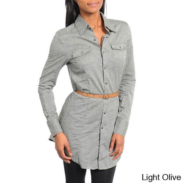 Stanzino Women's Button-down Belted Waist Shirt