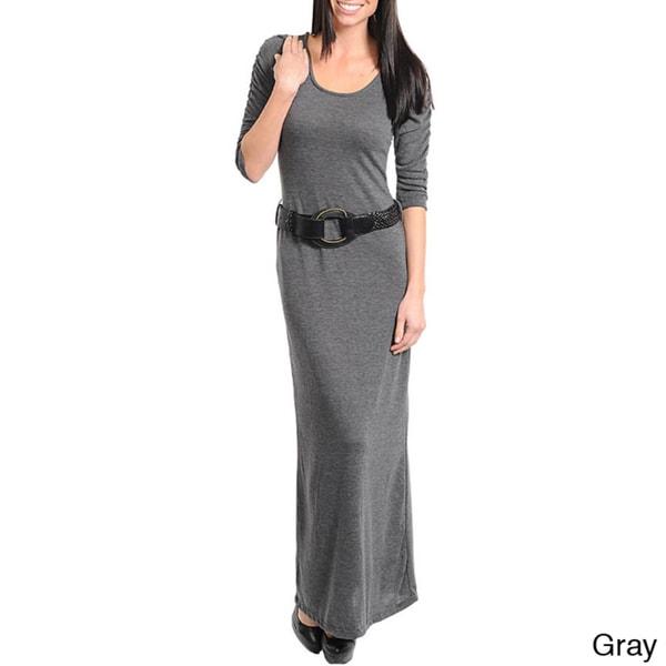 Stanzino Women's 3/4 Sleeve Belted Maxi Dress