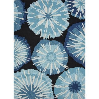 Indoor/ Outdoor Abstract Blue Rug (7'6 x 9'6)
