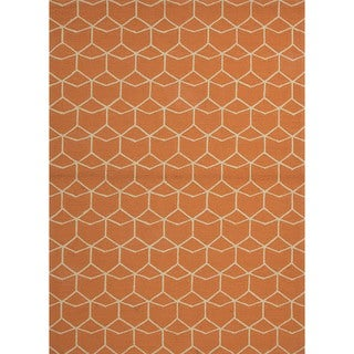 Indoor/ Outdoor Abstract Red/ Orange Rug (9' x 12')