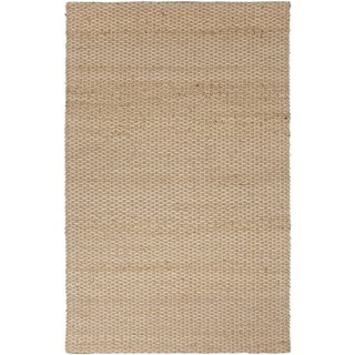 Natural Solid Pattern Jute/ Cotton Beige/ Brown Rug (3'6 x 5'6)