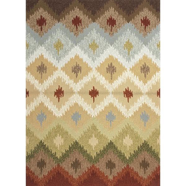 Indoor/ Outdoor Abstract Beige/ Brown Rug (9' x 12')