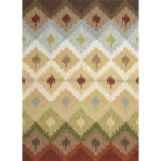 Indoor/ Outdoor Abstract Beige/ Brown Rug (9' x 12')