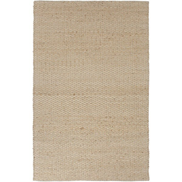 Natural Solid Jute/ Cotton Beige/ Brown Eco-friendly Rug (8' x 10')