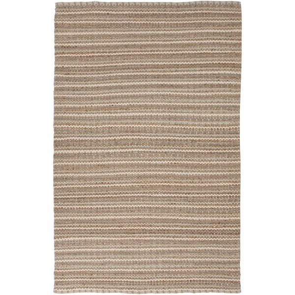 Natural Solid Jute/ Cotton Casual Beige/ Brown Rug (3'6 x 5'6)