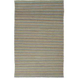 Natural Jute/ Cotton Solid Blue Accent Rug (2'6 x 4')