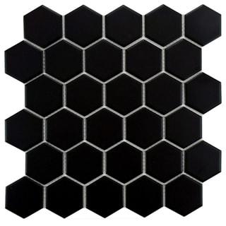 SomerTile Victorian Hex Matte Black Porcelain Mosaic Tiles (Case of 10)