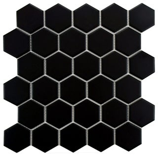 SomerTile Victorian Hex Matte Black Porcelain Mosaic Tiles (Case of 10)