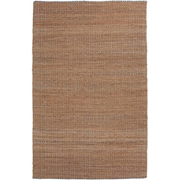 Natural Solid Jute/ Cotton Tan/ Blue Rug (5'x8')