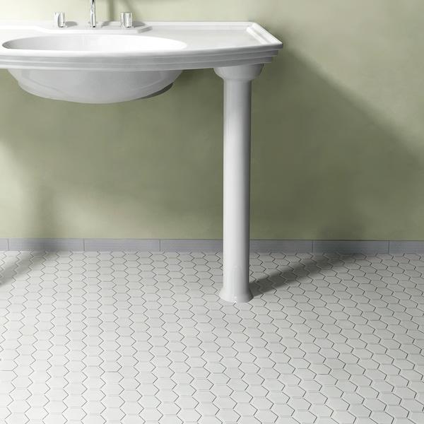 Somertile victorian hex glossy white for 10 inch floor tiles