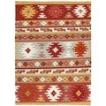 Handmade Flat Weave Tribal Reversible Multicolor Wool Rug (2' x 3')