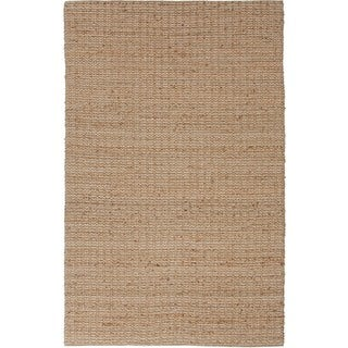 Natural Solid Jute Beige/ Brown Rug (3'6 x 5'6)