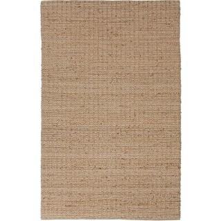 Natural Solid Jute Beige/ Brown Rug (5' x 8')